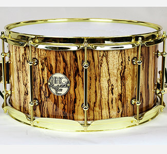14 x 7 Zebra wood stave snare drum with high gloss lacquer finish and gold plated Hardware