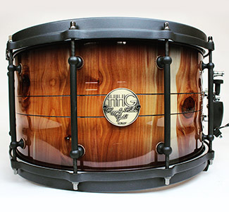 14 by 8 aromatic Cedar contoured Stave snare drum with flat black powder coated Hardware