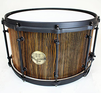 14 x 8 reclaimed Douglas fir stave snare drum with flat back powder coated hardware