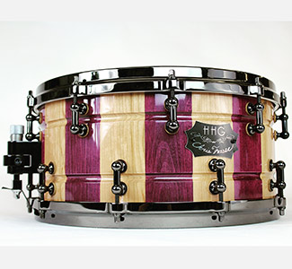 14 x 7 contoured purpleheart and cherry stave snare drum with black nickel hardware and high gloss finish