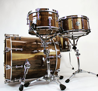 Calico walnut stave drum kit with satin lacquer finish